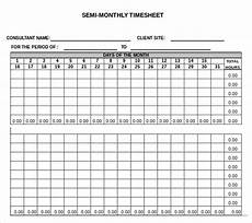 Semi Monthly Timesheet Template Excel 26 Monthly Timesheet Templates Free Sample Example