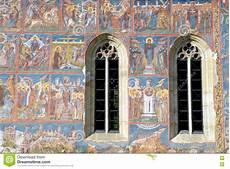 fresco old fresco monastery painted wall sucevita romania stock