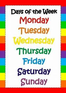 Printable Days Of The Week Chart Days Of The Week Poster Chart Flashcards Classroom