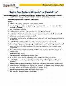 Restaurant Evaluation Form Restaurant Evaluation Form