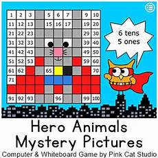 Interactive Place Value Chart Smartboard Superhero Animals Hundreds Chart Math Mystery Pictures