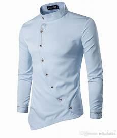 Designer Shirt Pattern 2019 Embroidery Asymmetrical Shirt Men 2018 Floral Pattern