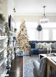 home tour living room with blue white and gold