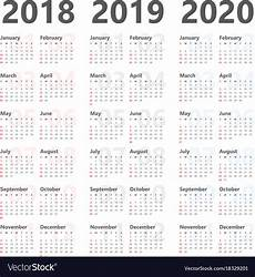 Yearly Calendar 2015 2020 2020 Yearly Calendar For Next 3 Years 2018 To 2020 Vector Image