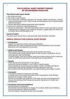 Clinical Writing Sample The Clinical Audit Report Format By Dr Mahboob Khan Phd