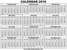 7 best images of 12 month calendar 2016 printable on one