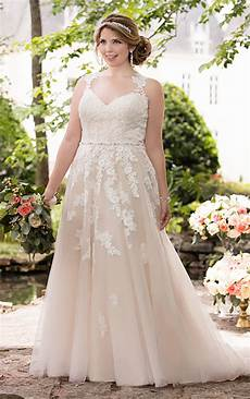 plus size wedding dress with lace illusion back stella york