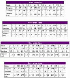 Shoe Size Translation Chart Size Charts Craftyline E Pattern Shop
