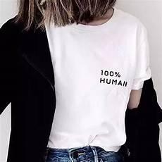Best Statement Shirt Designs Womens 100 Human Tiny Slogan T Shirt Short Sleeve