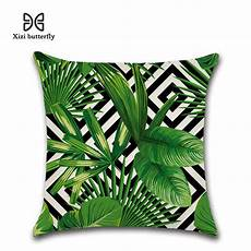tropical plants palm leaf green leaves monstera cushion