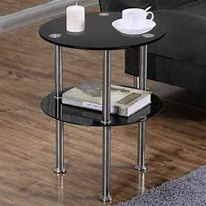 modern 2 tier glass side end tables coffee