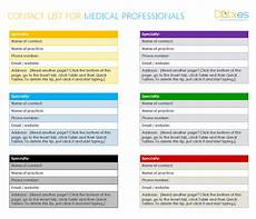 Contact List Format Medical Contact List Template For Word Dotxes