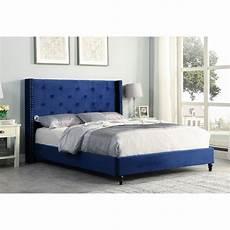 valentina upholstered velvet wingback platform bed blue