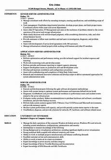 Server Admin Resume Server Administrator Resume Samples Velvet Jobs