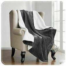 new grey sherpa fleece throw blanket large warm soft