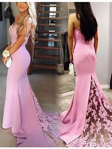 elegant spaghetti straps sweep train pink mermaid prom