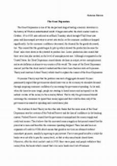 Essay About Great Depression Depression Research Paper The Oscillation Band