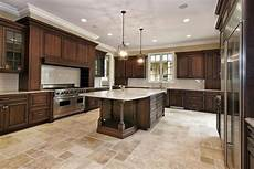 Dark Kitchen Cabinets With Light Floors Love The Stone Floor Color And Pattern Dark Kitchen