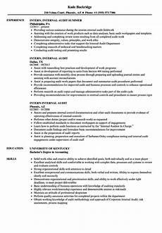 Internal Resume Template Intern Internal Audit Resume Samples Velvet Jobs