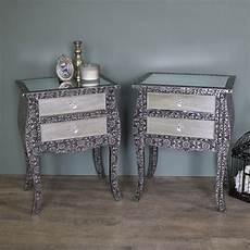 pair of embossed mirrored bedside l tables