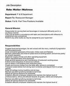 Cv For A Waitress 10 Waiter Job Description Templates Pdf Doc Free