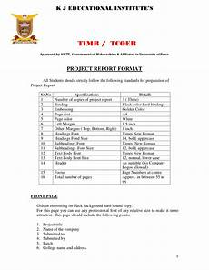 Project Reports Format Project Report Format