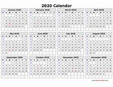 Printable Yearly Calendar 2015 2020 Free Download Printable Calendar 2020 In One Page Clean