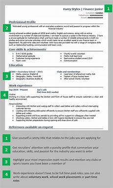 How To Write A Cv At 16 School Leaver Cv Example Page 1 School Leavers Resume