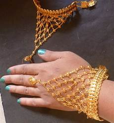 22k Gold Indian Jewellery Designs 22k Gold Plated Indian One Ring Two Pieces Haat Panja Hand