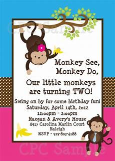 Monkey Birthday Invitations Twins Monkey Birthday Invitations Printable Party Invite