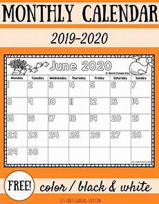 Free 2020 Calendars Free 2019 2020 Monthly Calendars For Kids Liz S Early