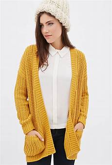 lyst forever 21 purl knit cardigan in yellow
