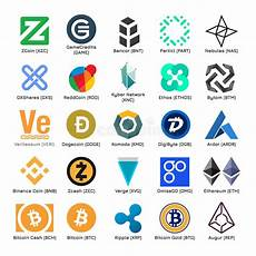 Cryptocurrency Logo Design Free Set Of Vector Logos Of Popular Cryptocurrency Stock Vector