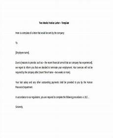 Example Of A Notice Letter Free 21 Two Weeks Notice Letter Examples Amp Samples In
