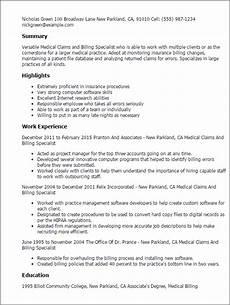 Medical Billing Specialist Resume Medical Claims And Billing Specialist Resume Template