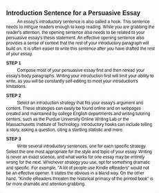 Example Of An Introduction In An Essay Persuasive Essay Introduction