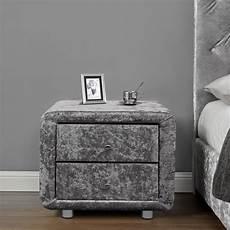 silver crushed velvet 2 drawer bedside tables with chrome
