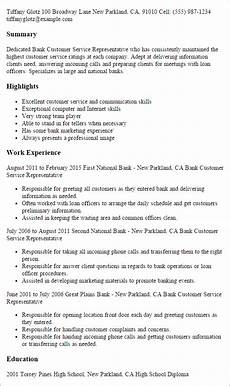 Resume Templates For Customer Service Representatives 1 Bank Customer Service Representative Resume Templates