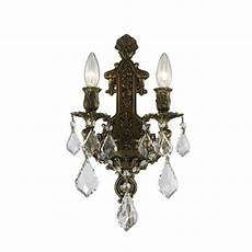 Crystal Sconce Lights Worldwide Lighting Versailles 2 Light Antique Bronze Clear