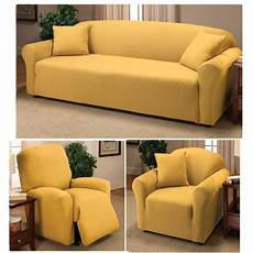 Yellow Sofa Slipcover 3d Image by Yellow Jersey Knit Fitted Slipcovers Yellow Living Room