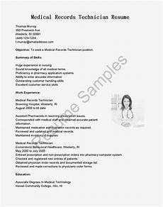 Medical Records Resumes Resume Samples Medical Records Technician Resume Sample