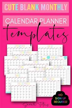 Free Monthly Printable Calendar Cute Blank Monthly Calendar Planner Templates