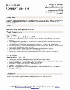 Spa Resume Sample Spa Manager Resume Samples Qwikresume