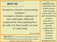 Resume And Biodata Difference What Is The Difference Between A Cv Resume And A Biodata