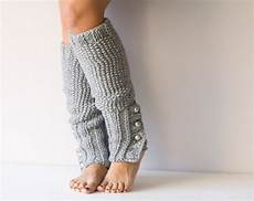 grey knit leg warmers with buttons slouchy leg warmers knit