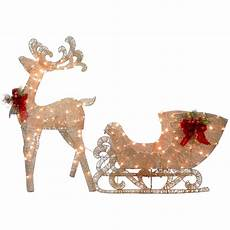 Lighted Santa Sleigh And Reindeer Outdoor National Tree Co Reindeer And Santa S Sleigh With Led