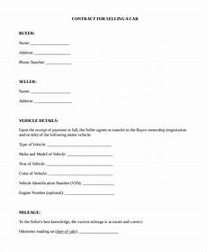 Contract For Selling A Car Free 8 Sample Car Sale Contract Forms In Pdf Ms Word