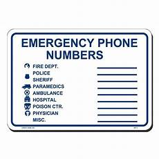Emergency Contact Sign Lynch Sign 10 In X 7 In Black On White Plastic No Public