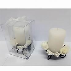 candela bomboniera matrimonio candela cilindro supporto metallo bianco confezione