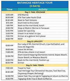 Itinerary Example Batangas Beaches Sample Weekend Itineraries The Poor